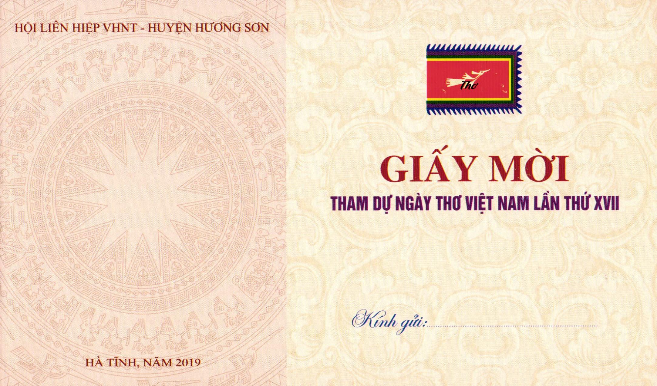 Giấy mời tham dự Ngày thơ Việt Nam tại Hà Tĩnh lần thứ XVII
