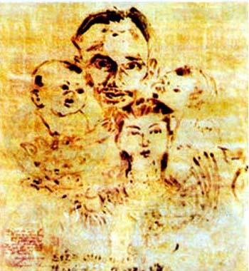 """Họa sĩ, nhà điêu khắc Diệp Minh Châu với bức huyết họa """"Bác Hồ và ba cháu thiếu nhi Trung Nam Bắc"""""""
