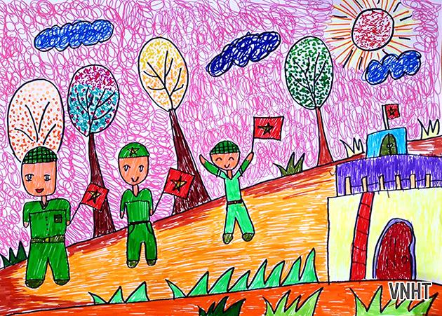 Chùm tranh của các em chào mừng ngày thành lập Quân đội Nhân dân Việt Nam