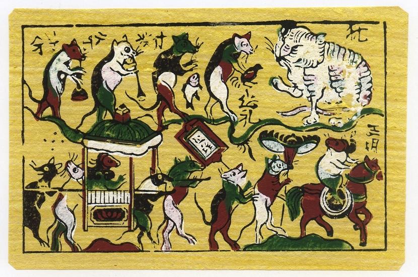 Tiếng cười trào lộng về mối quan hệ Mèo Chuột trong tranh dân gian của Họa sỹ Lê Anh Tuấn