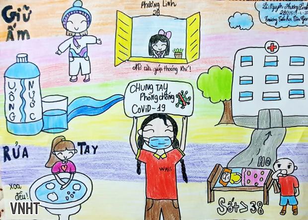 Học sinh Tiểu học Tân Giang vẽ tranh phòng chống dịch Covid-19