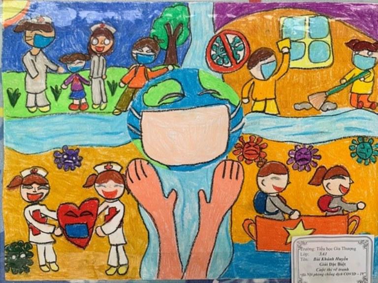 Chùm tác phẩm tham dự Cuộc thi Sáng tác về đề tài phòng chống dịch covid của các em học sinh Trường THCS Lê Văn Thiêm (Tp Hà Tĩnh)