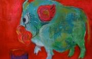 Những bức tranh lợn đầy độc đáo chào mừng năm Kỷ Hợi