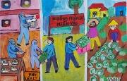 Chùm tranh của học sinh Tiểu học Bắc Hồng về chủ đề Phòng và chống dịch bệnh Covid - 19